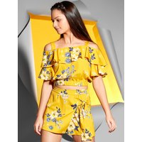 Teen Girl Floral print cropped bardot top with cut out shoulders and a frill front  - Yellow