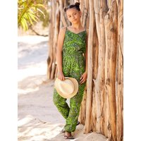Kids Teen girl palm print jumpsuit sleeveless with gold foil shimmer  - White