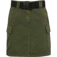 Teen girl khaki denim utility skirt with belt  - Khaki