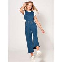 Teen girl cut out denim jumpsuit  - Denim Blue