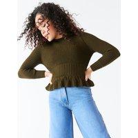Teen girl peplum jumper  - Khaki