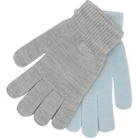 Teen girl light blue and grey stretch rib cuff magic gloves two pack  - Multicolour