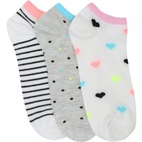 Teen girl cotton rich stretch multi-coloured heart spot and stripe pattern ankle trainer socks three