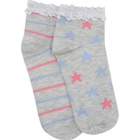 Teen girl cotton blend grey pink and blue star and stripe lace frill trim trainer socks two pack  -