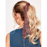 Teen girl leopard print hair tie  - Red