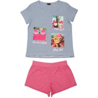 Teen girl cotton rich blue stripe photo slogan print short sleeve top and pink shorts pyjama set  -
