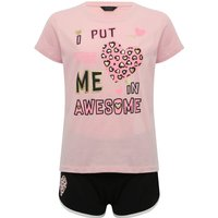 Teen girl 100% cotton awesome slogan leopard heart print top and shorts pyjama set  - Multicolour