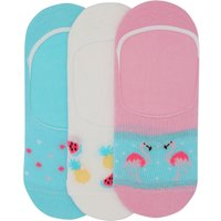 Teen girl multicoloured flamingo fruit and spot print invisible trainer socks three pack  - Multicol