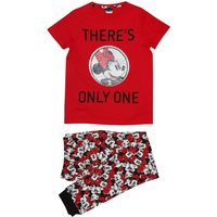 Disney teen girl red cotton Mickey Minnie Mouse two way sequin design top and trousers pyjamas  - Re