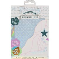 NPW shimmering iridescent silver mermaid scales temporary body tattoos  - Multicolour
