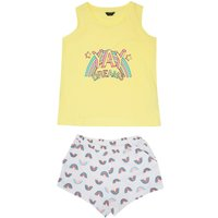 Teen Girls Pyjamas with Yay Dreams Shorts and Vest Sleep Set  - Yellow