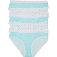 Teen girls printed briefs five pack cotton love heart design  - Mint