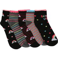 Girls Black and grey mixed stripe and rainbow print ankle socks - 5 pack  - Multicolour