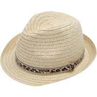 Teen girl straw trilby hat leopard print trim  - Straw