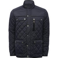 Mens long sleeve light diamond quilting pocket front funnel neck zip stud button front jacket  - Navy
