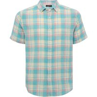 Mens cotton linen blend short sleeve classic collar button front blue checked shirt  - Blue