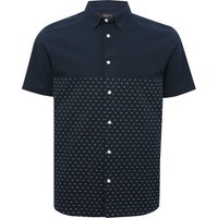 Mens 100~% cotton navy short sleeve white dobby spot pattern button down regular fit shirt  - Navy