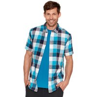 Mens 100% cotton short sleeve blue check pattern button front classic collar shirt  - Blue
