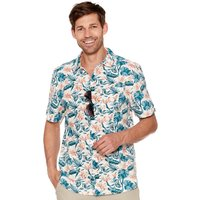 Mens Short Sleeve 100% Cotton Tropical Leaf Floral Print Button Up Collar Casual Shirt  - White