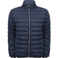 Mens long sleeve funnel neck insulated zip front winter padded jacket  - Navy