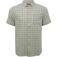 Mens light green woven check pattern short sleeve button front chest pocket cotton regular fit shirt