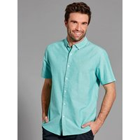 Mens short sleeve shirt oxford cotton plain summer shirt in a classic fit  - Jade