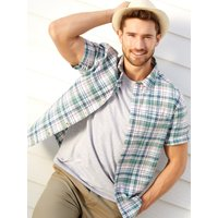 Mens Green Check Short Sleeve Shirt Cotton Summer Shirt G - Green