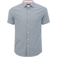 Mens blue chevron print shirt short sleeve classic collar button front slim fit 100% cotton  - Blue