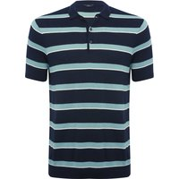 Mens short sleeve waffle knit polo shirt  - Navy