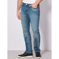 Mens mid blue wash straight leg jeans with medium rise waist button zip fly five pocket styling  - B