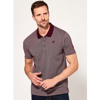 Mens spot print polo shirt  - Burgundy