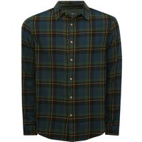 Mens green check shirt 100% cotton long sleeve button front classic collar G - Green