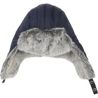 Mens navy clip fastening trapper hat with fleecey grey faux fur lining  - Navy