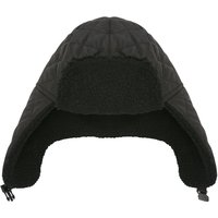 Mens black faux fur fleece lined clip fastening trapper hat design with Thinsulate technology  - Bla