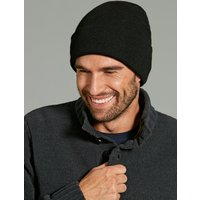 Mens thermal plain knitted beanie hat with thinsulate lining cold weather winter hat  - Black