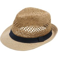 Mens straw trilby hat  - Natural