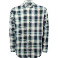 Farah mens long sleeve cotton check pattern embroidered logo smart shirt G - Green