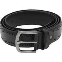 Men's Hole punch detail brogue style leather look belt  - Black
