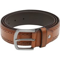 Men's Hole punch detail brogue style leather look belt  - Brown