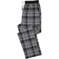 Mens 100% cotton grey checked black elasticated waistband straight leg pyjama trousers  - Grey
