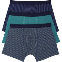 Mens Stretch Cotton Plain and Patterned Design Elasticated Waist Boxer Trunks 3 Pack  - Turquoise