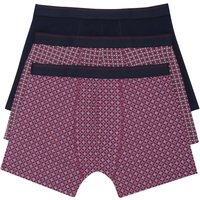 Mens two Patterned one plain elasticated waist stretch cotton trunk boxer shorts - 3 pack  - Wine Re