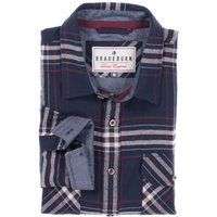 Brakeburn mens 100% cotton navy blue long sleeve check pattern button down classic collar shirt  - N
