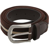 Mens rich brown stretch stripe pattern practical comfort faux leather casual jeans belt  - Chocolate