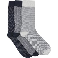 Mens cotton rich herringbone contrast heel and toe ankle socks - 3 pack  - Multicolour