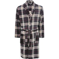 Mens Long Sleeve Knee Length Soft Fleece Grey And Red Checked Dressing Gown - Charcoal