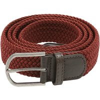Mens woven stretch belt burgundy with leather look detailing  - Burgundy
