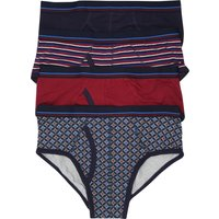 Mens stretch cotton blend patterned briefs four pack  - Wine Red