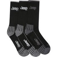 Mens Jeep Black Logo detail Cotton Rich Sports Ribbed Ankle socks - 3 pair pack  - Black