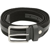 Mens Fabric and Leather Look Stripe Design Belt Black and Grey with Silver Tone Buckle  - Black